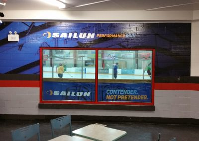 Wall Graphic and Back of Rink Board